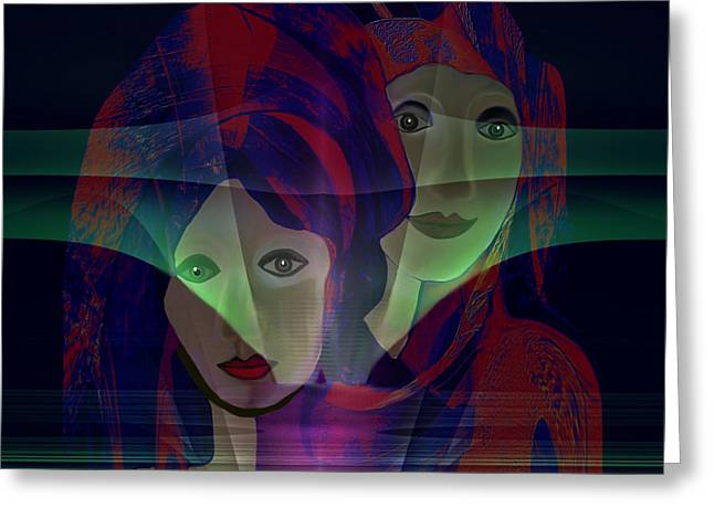Hidden Face Greeting Cards - 036 - two Faces of  Night  Greeting Card by Irmgard Schoendorf Welch