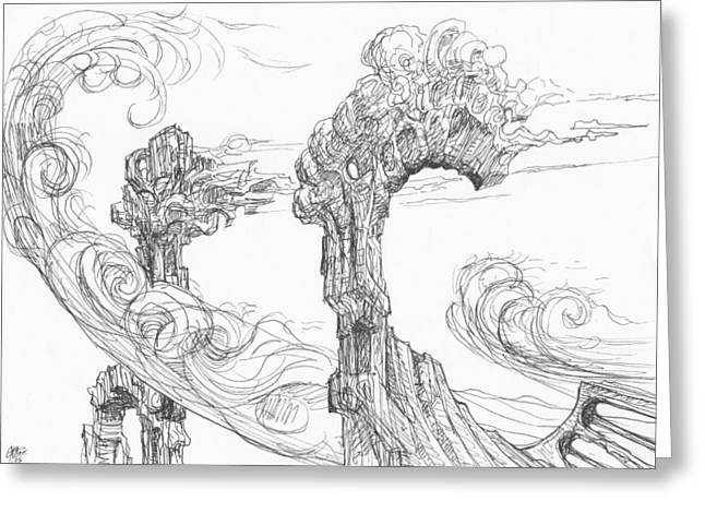Organic Drawings Greeting Cards - 0511-23 Greeting Card by Charles Cater