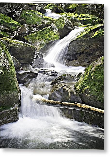 Waterfall Greeting Cards - 0804-0035 Cascade Above Triple Falls Greeting Card by Randy Forrester
