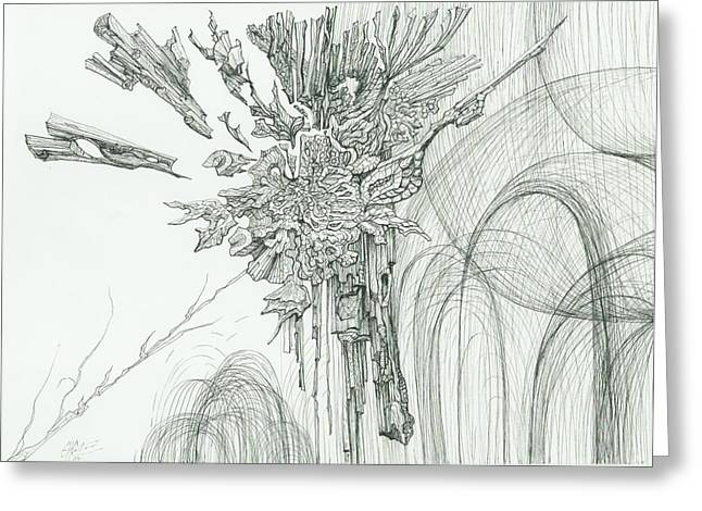 Organic Drawings Greeting Cards - 0811-11 Greeting Card by Charles Cater