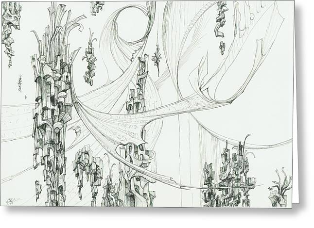 Organic Drawings Greeting Cards - 0811-12 Greeting Card by Charles Cater