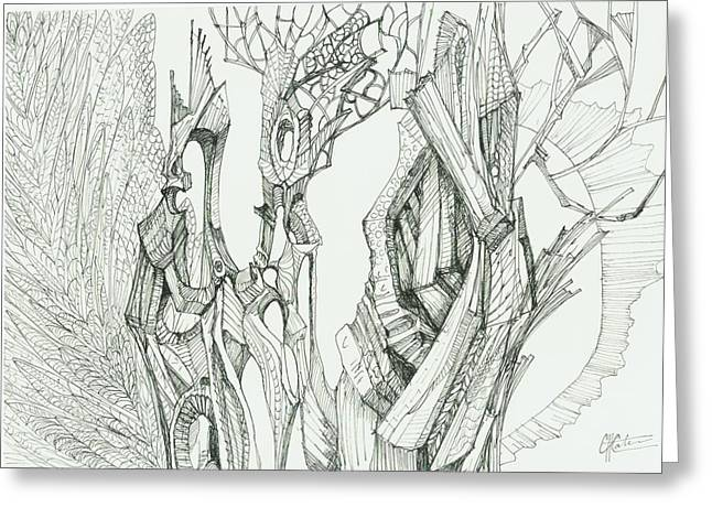 Organic Drawings Greeting Cards - 0811-17 Greeting Card by Charles Cater