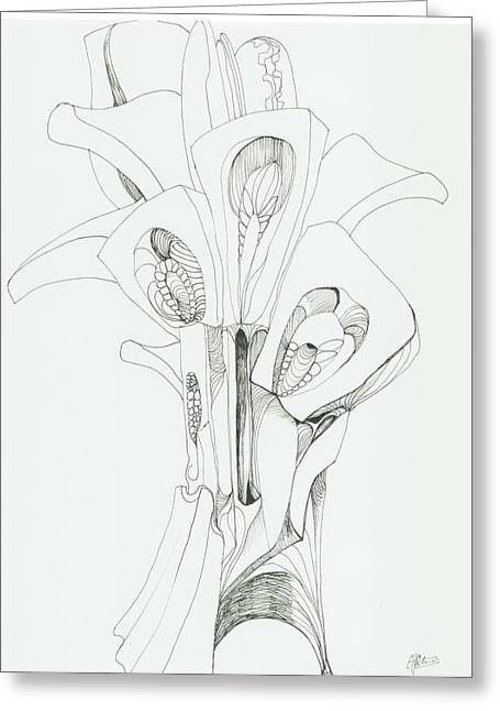 Organic Drawings Greeting Cards - 0811-25 Greeting Card by Charles Cater