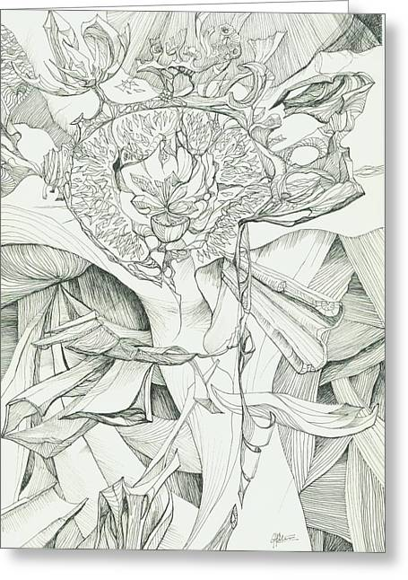 Organic Drawings Greeting Cards - 0811-26 Greeting Card by Charles Cater
