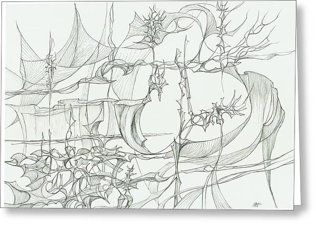 Organic Drawings Greeting Cards - 0811-28 Greeting Card by Charles Cater