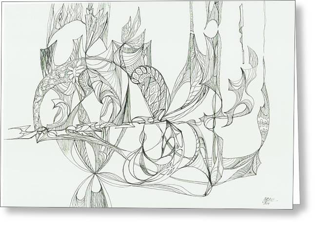 Organic Drawings Greeting Cards - 0811-29 Greeting Card by Charles Cater