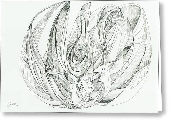 Organic Drawings Greeting Cards - 0811-9 Greeting Card by Charles Cater
