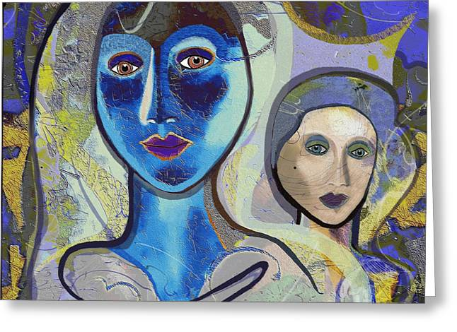 092 - blue lady  Greeting Card by Irmgard Schoendorf Welch