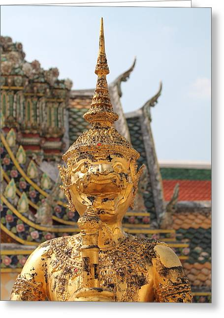 Interior Scene Tapestries - Textiles Greeting Cards -  Demon Guardian Statues at Wat Phra Kaew Greeting Card by Panyanon Hankhampa