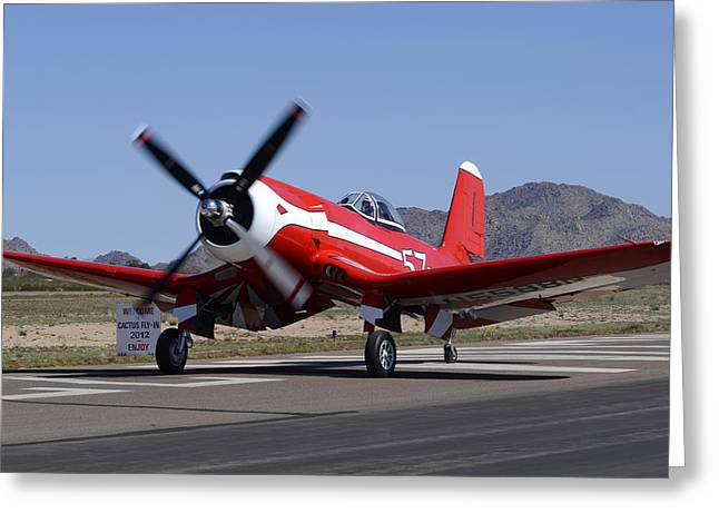 Casa Grande Greeting Cards -  Goodyear F2G-1 Corsair NX5588N Race 57 Cactus Fly-in March 3 2012 Greeting Card by Brian Lockett