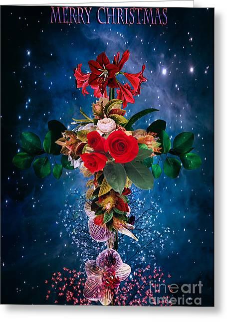 Stars Pyrography Greeting Cards -  Merry Christmas Greeting Card by Andrzej Szczerski