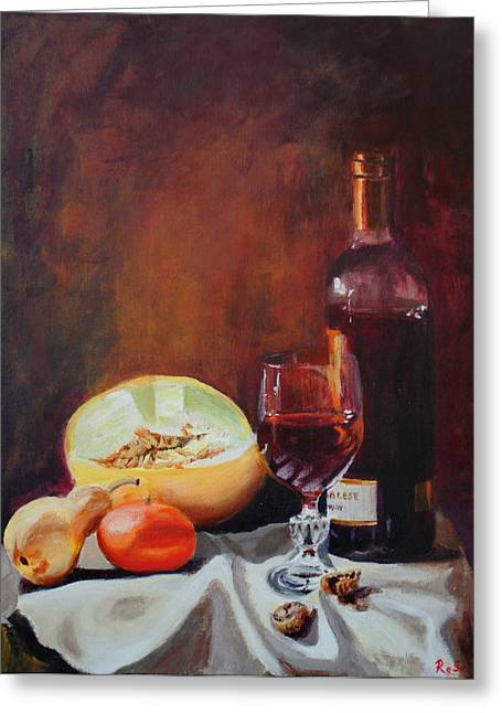 """""""indoor"""" Still Life Paintings Greeting Cards -  Still Life with wine Greeting Card by Rose Sciberras"""