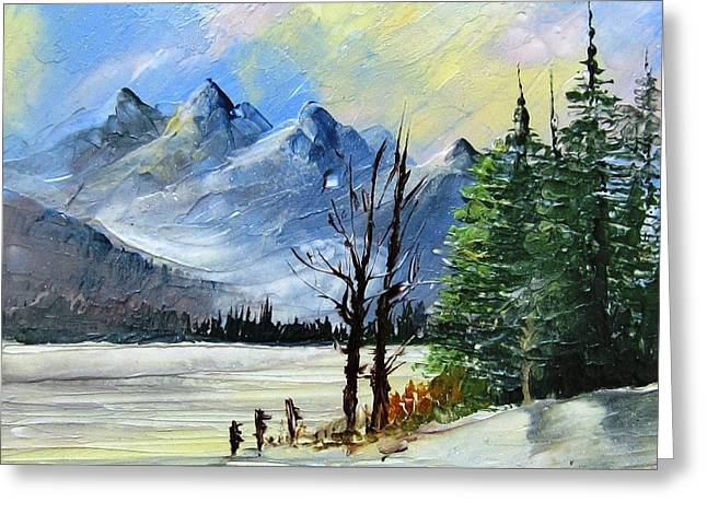 Mountains Ceramics Greeting Cards - 1130b Mountain Lake Scene Greeting Card by Wilma Manhardt