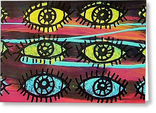 Looking At Viewer Greeting Cards - 12 Eyes Greeting Card by Nancy Mitchell