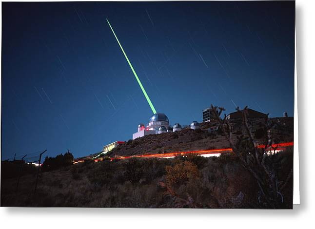 Starfire Photographs Greeting Cards - 1.5m Telescope With Laser, Starfire Optical Range Greeting Card by David Parker