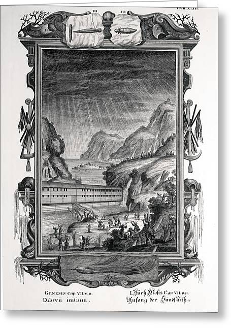Creationism Greeting Cards - 1731 Johann Scheuchzer Noahs Ark Flood Greeting Card by Paul D Stewart