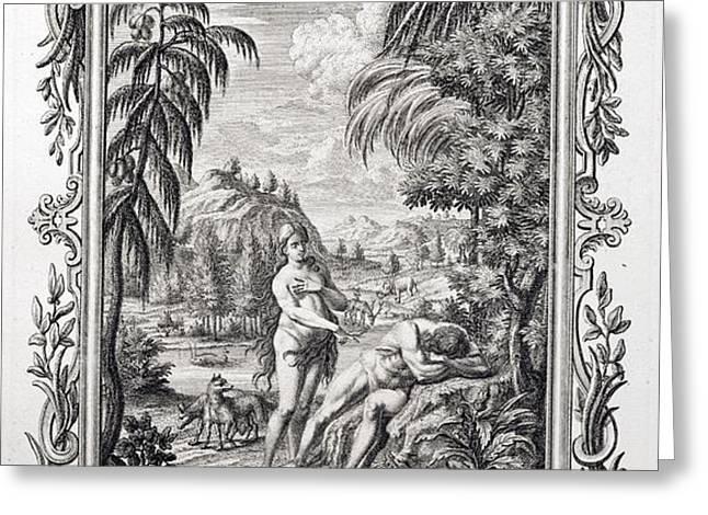 1731 Scheuchzer Creation Adam & Eve Greeting Card by Paul D Stewart