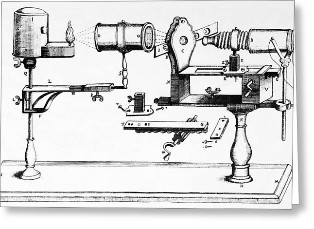 Light Magnifications Greeting Cards - 17th Century Microscope, Artwork Greeting Card by
