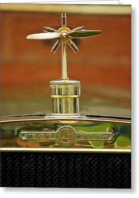1907 Greeting Cards - 1907 Stevens-Duryea U Touring Hood Ornament Greeting Card by Jill Reger