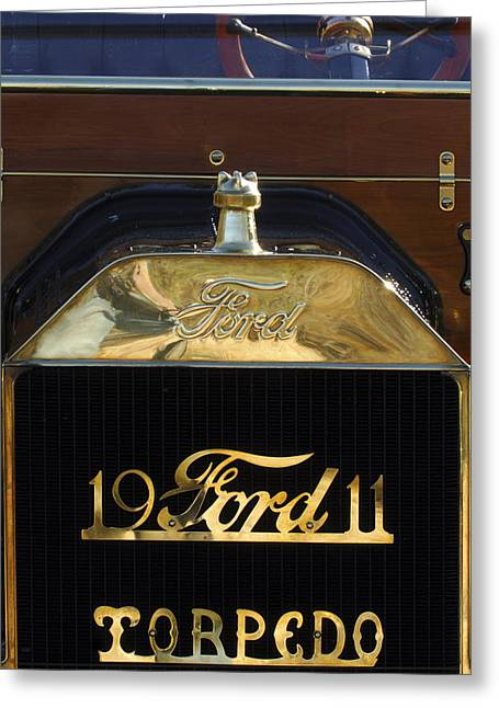 Ford Model T Car Greeting Cards - 1911 Ford Model T Torpedo Hood Ornament Greeting Card by Jill Reger