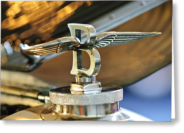 Collector Hood Ornament Greeting Cards - 1927 Bentley 6.5 Litre Sports Tourer Hood Ornament Greeting Card by Jill Reger