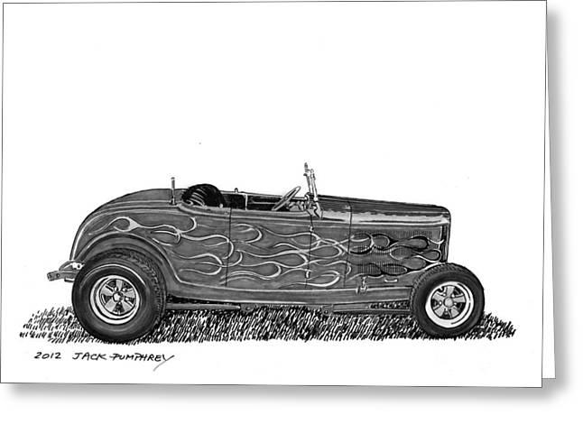 Pen And Ink Framed Prints Greeting Cards - 1932 Ford Hi Boy Hot Rod Greeting Card by Jack Pumphrey