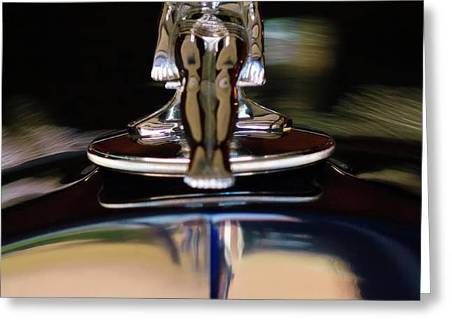 1934 Packard Hood Ornament 3 Greeting Card by Jill Reger