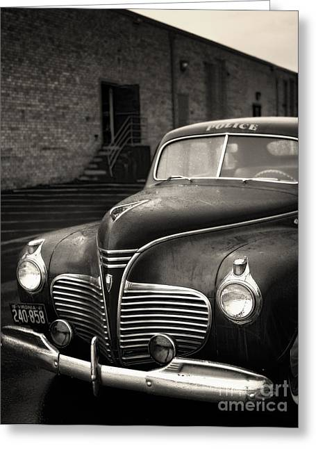 Squad Car Greeting Cards - 1941 Plymouth Police Car Greeting Card by Susan Isakson