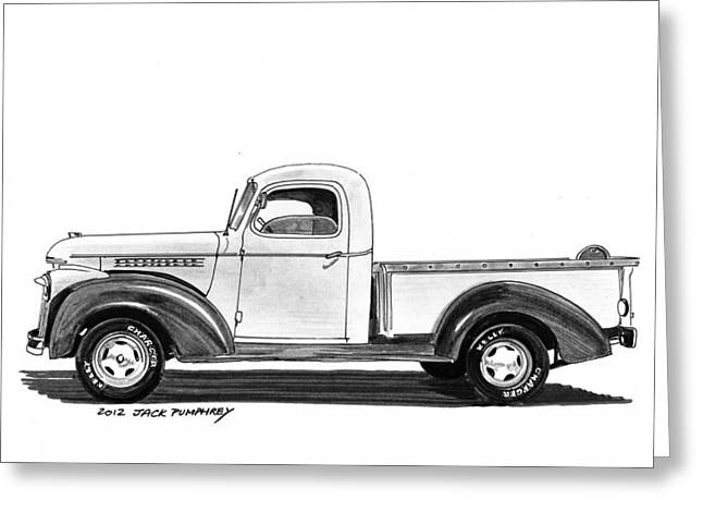 Pen And Ink Framed Prints Greeting Cards - 1946 Chevrolet Pick Up Greeting Card by Jack Pumphrey