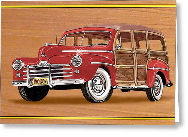 Surfing Art Print Paintings Greeting Cards - 1946 Ford WOODY Greeting Card by Jack Pumphrey