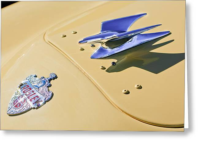 1951 Greeting Cards - 1951 Crosley Hot Shot Hood Ornament Greeting Card by Jill Reger