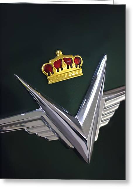 Collector Hood Ornament Greeting Cards - 1954 Chrysler Imperial Sedan Hood Ornament Greeting Card by Jill Reger