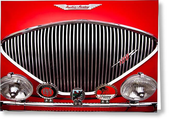 Radiator Badge Greeting Cards - 1955 Austin Healey 100-4 Greeting Card by David Patterson