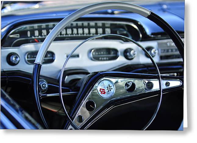 Car Photography Greeting Cards - 1958 Chevrolet Impala Steering Wheel Greeting Card by Jill Reger