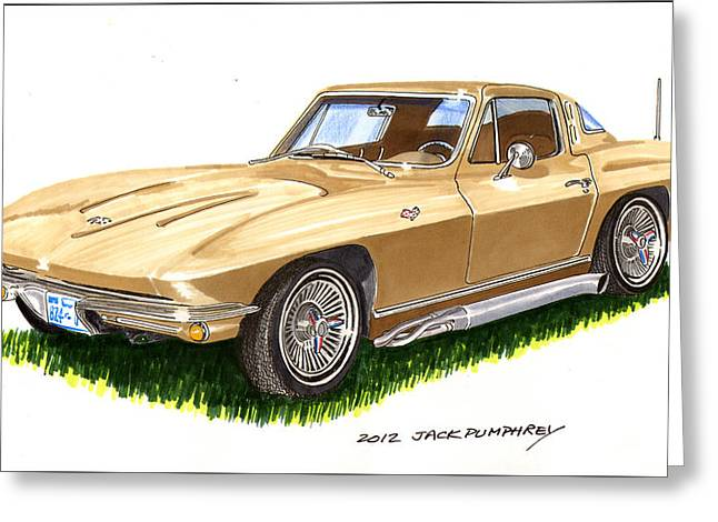 40s Paintings Greeting Cards - 1964 Corvette Greeting Card by Jack Pumphrey