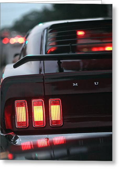 Burgundy Digital Art Greeting Cards - 1969 Ford Mustang Mach 1 Greeting Card by Gordon Dean II