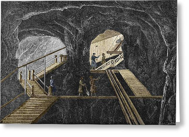 Working Conditions Greeting Cards - 19th-century Mining Greeting Card by Sheila Terry