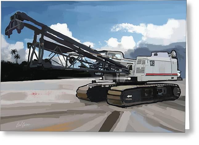 Bulldozer Greeting Cards - 2004 Link Belt 138H5 Lattice Boom Crawler Crane Greeting Card by Brad Burns