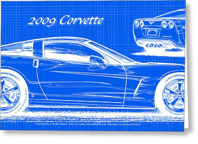 2009 Digital Art Greeting Cards - 2009 C6 Corvette Blueprint Greeting Card by K Scott Teeters