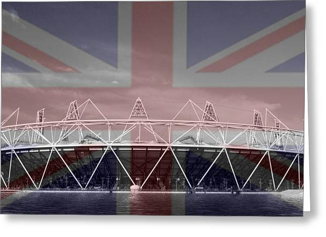 Helter-skelter Greeting Cards - 2012 Olympic stadium BW Greeting Card by David French