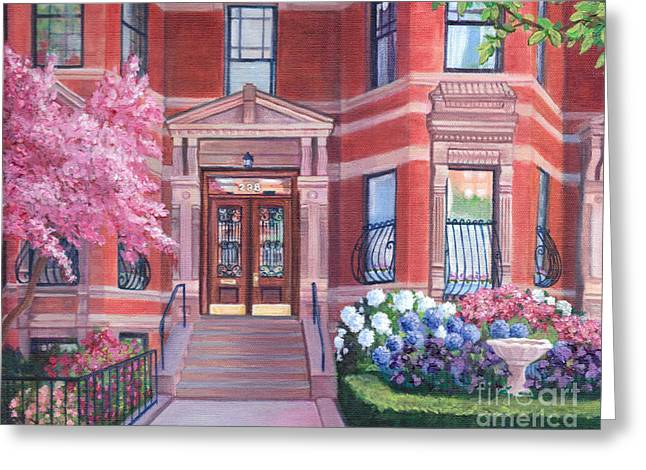 Cherry Blossoms Paintings Greeting Cards - 238 Marlborough Street Greeting Card by Laura DeDonato