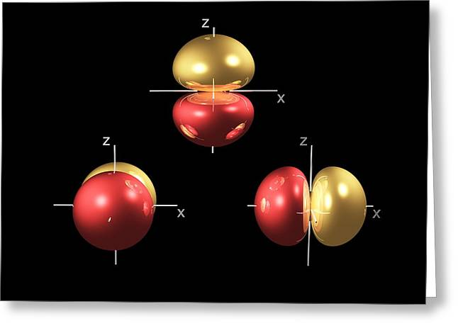 2p Electron Orbitals Greeting Card by Dr Mark J. Winter