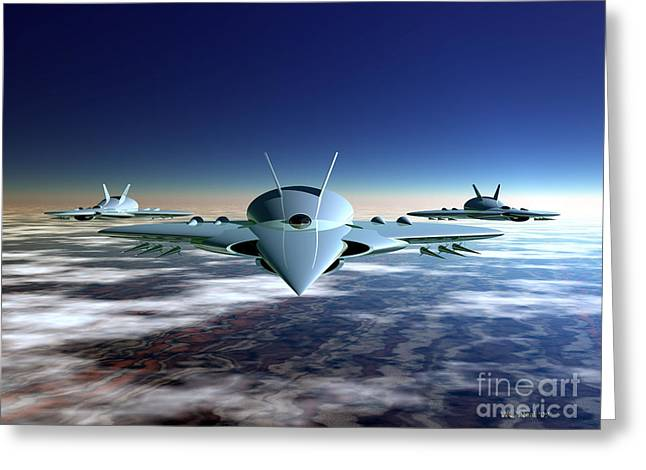 Military Airplanes Greeting Cards - 3 Fusion Ram Jets Greeting Card by Walter Oliver Neal