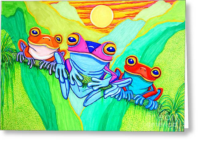 Amphibians Drawings Greeting Cards - 3 Little Frogs Greeting Card by Nick Gustafson