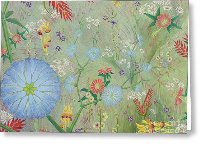 Passiflora Paintings Greeting Cards - 49 Daisies Greeting Card by Nancy Jane Dodge