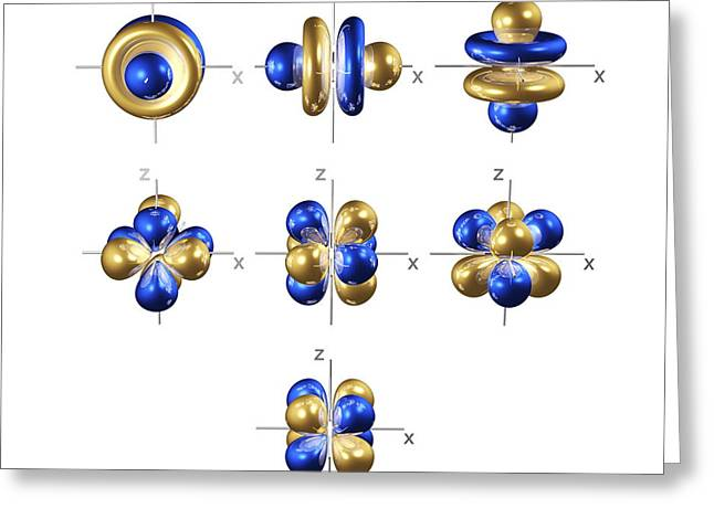 Electron Orbital Greeting Cards - 4f Electron Orbitals, Cubic Set Greeting Card by Dr Mark J. Winter