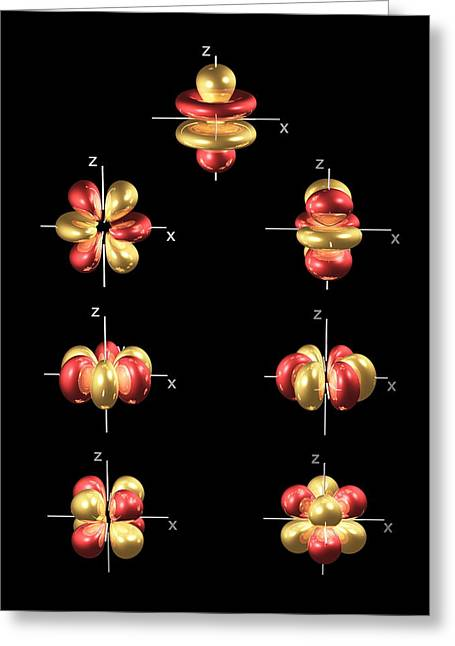 Electron Orbital Greeting Cards - 4f Electron Orbitals, General Set Greeting Card by Dr Mark J. Winter
