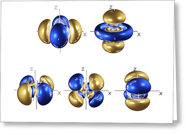 Electron Orbital Greeting Cards - 5d Electron Orbitals Greeting Card by Dr Mark J. Winter