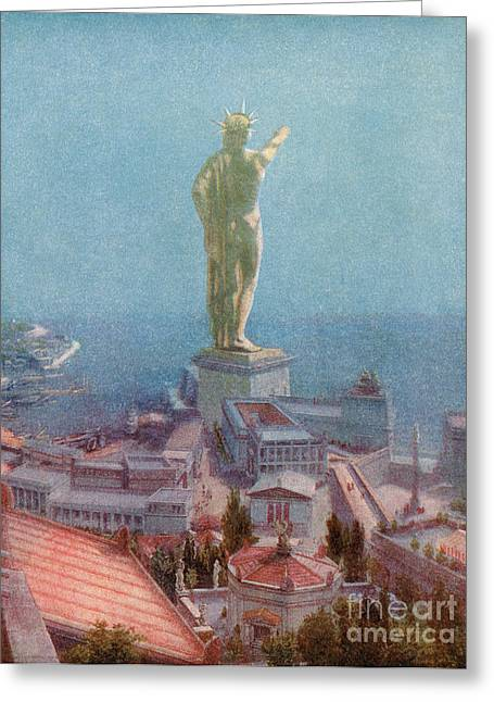 The Sun God Photographs Greeting Cards - 7 Wonders Of The World, Colossus Greeting Card by Photo Researchers