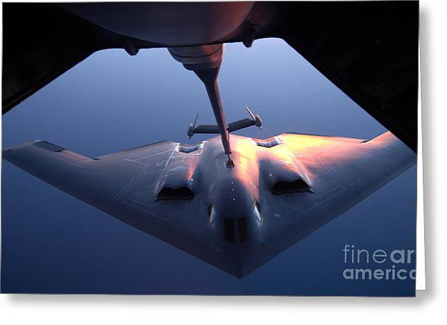 Mechanism Photographs Greeting Cards - A B-2 Spirit Bomber Conducts Greeting Card by Stocktrek Images